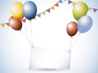Ballons and birthday decorations background