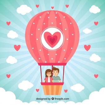 Balloon with a couple in love