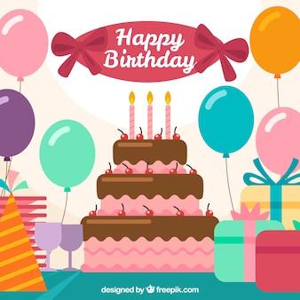 Воздушные шары фон с торт ко дню рождения