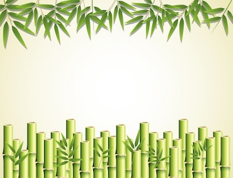 Bamboo effect with leaves and stems