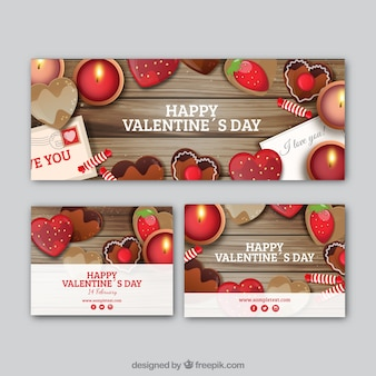 Banner and cards of valentines with sweets