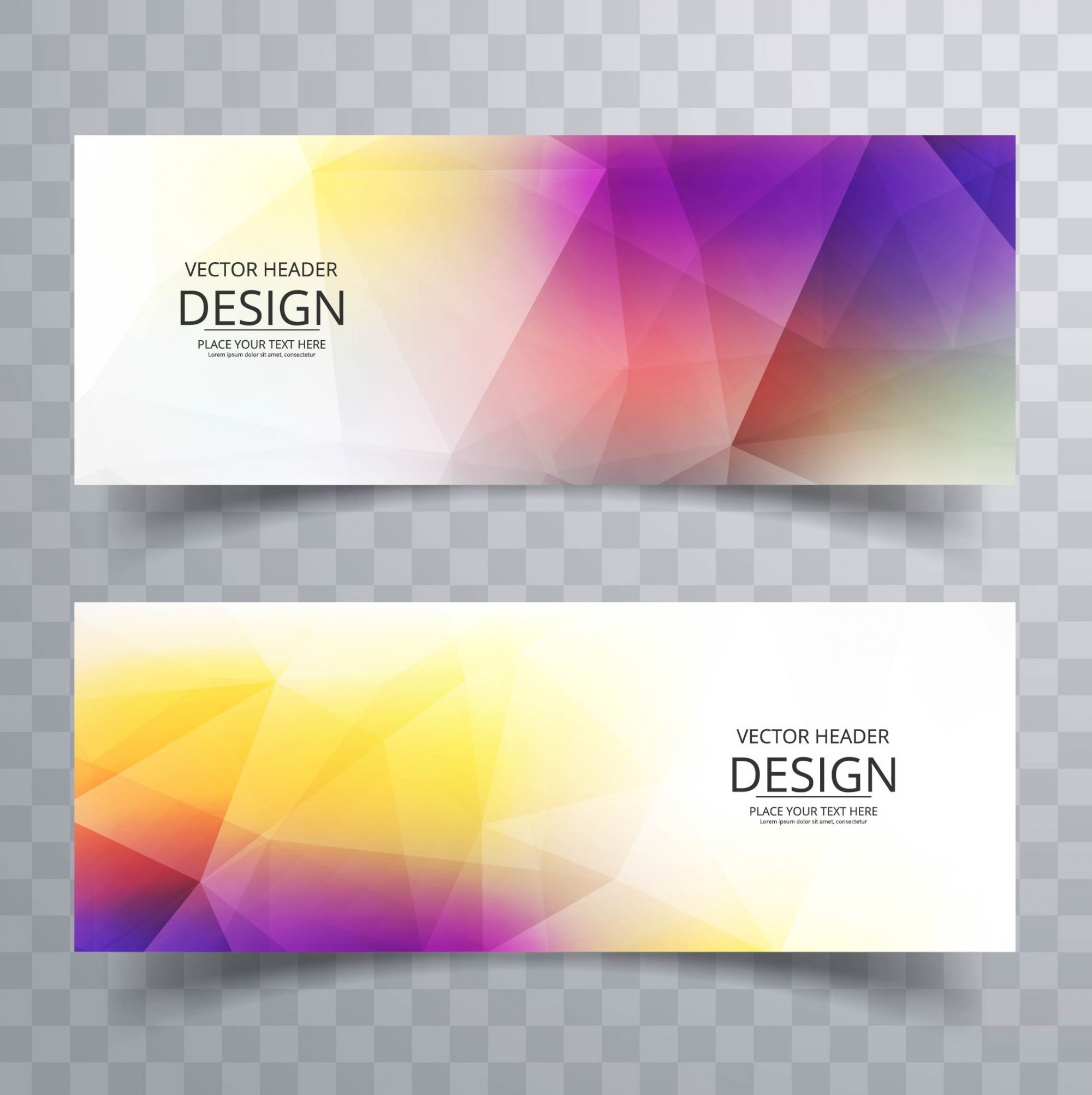 Banner design with colorful polygonal shapes