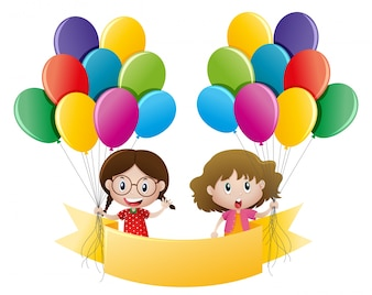 Banner template with girls and balloons