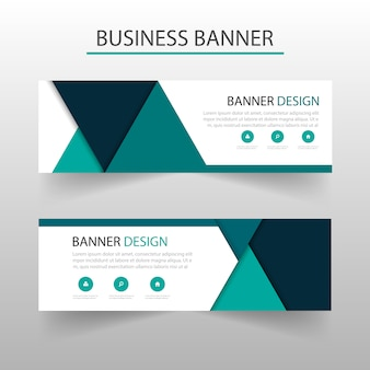Banner template with turquoise triangles, geometric style