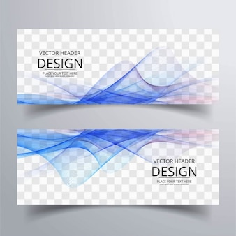 Banner with wavy shapes