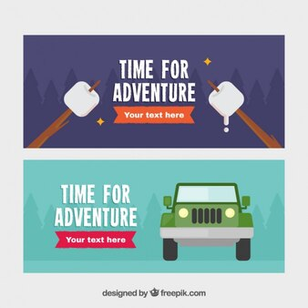 Banners about adventures in nature
