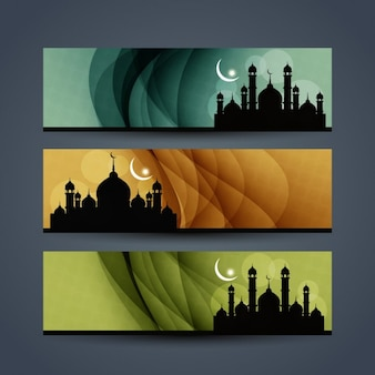 Banners collection with mosques silhouettes