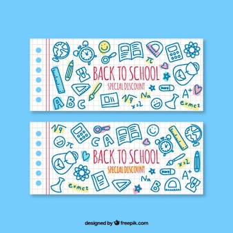 Banners for back to school with special discounts
