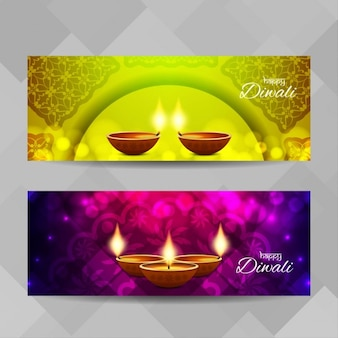 Banners for diwali on a geometric background