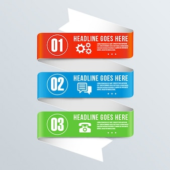 Banners for infographics with three colors