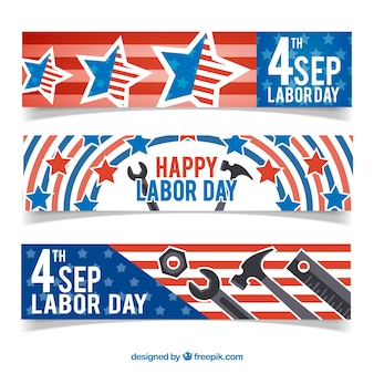 Banners for labor day with stars and tools