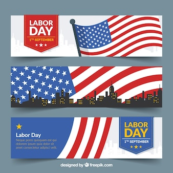 Banners for labor day with waving flang and skyline