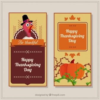 Banners for thanksgiving with a pumpkin and a turkey