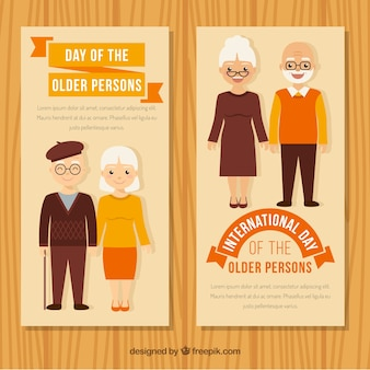 Banners in vintage style of older couples