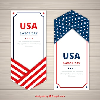 Banners, labor day and american flag