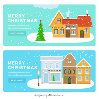 Banners of beautiful christmas houses