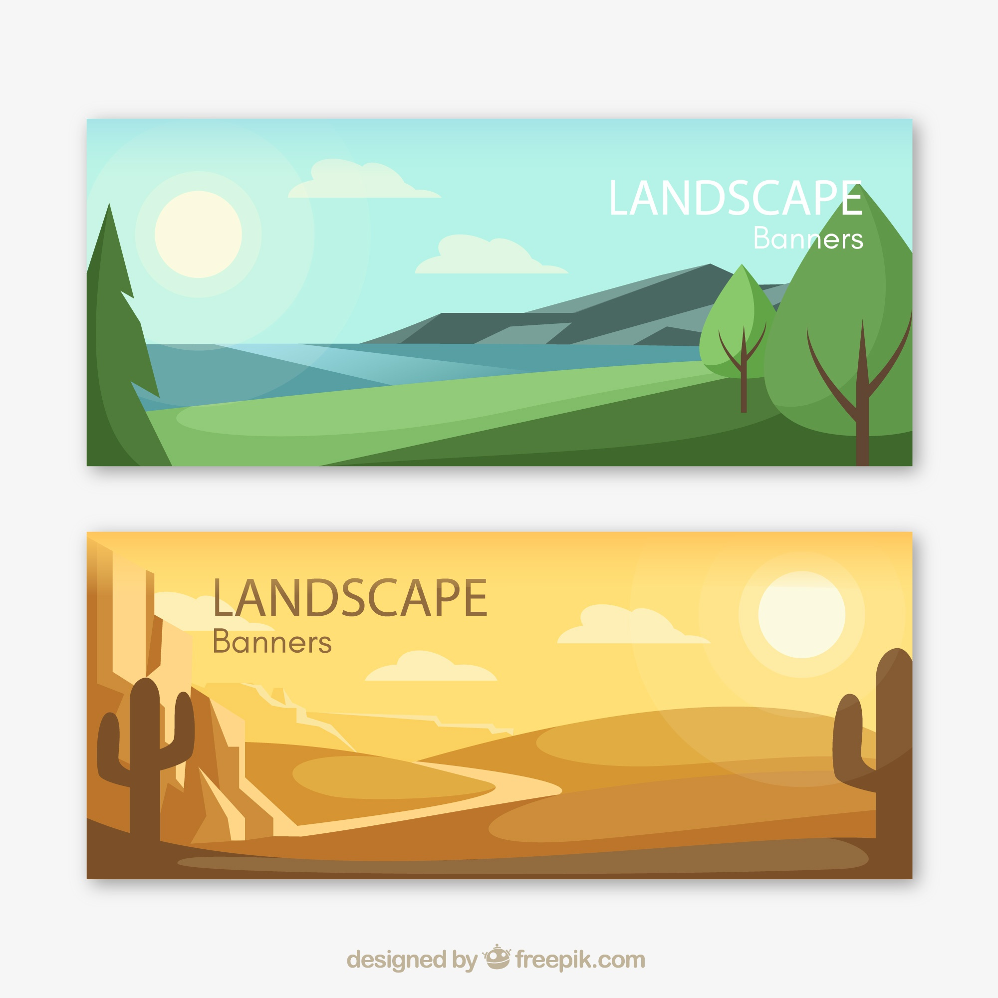 Banners of beautiful landscapes