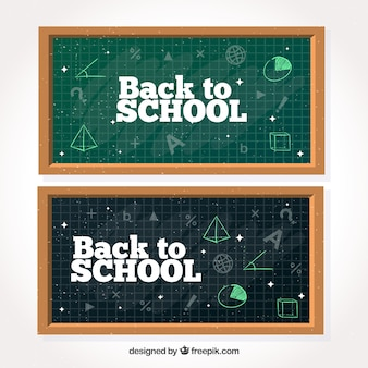 Banners of blackboards with mathematical drawings