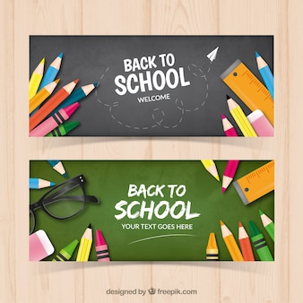 Banners of blackboards with pencils