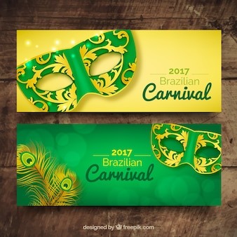 Banners of carnival ornamental masks