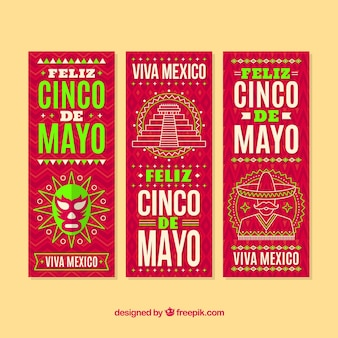 Banners of cinco de mayo with drawings