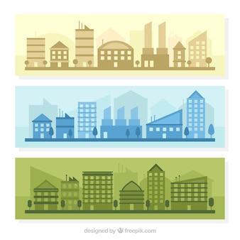 Banners of cities in different colors