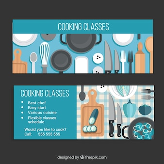 Banners of cooking classes with blue details