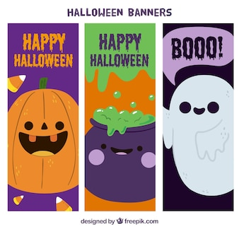 Banners of cute halloween characters