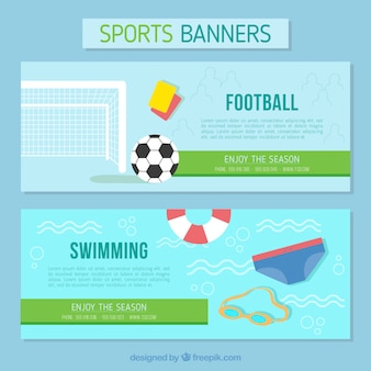 Banners of football and swimming