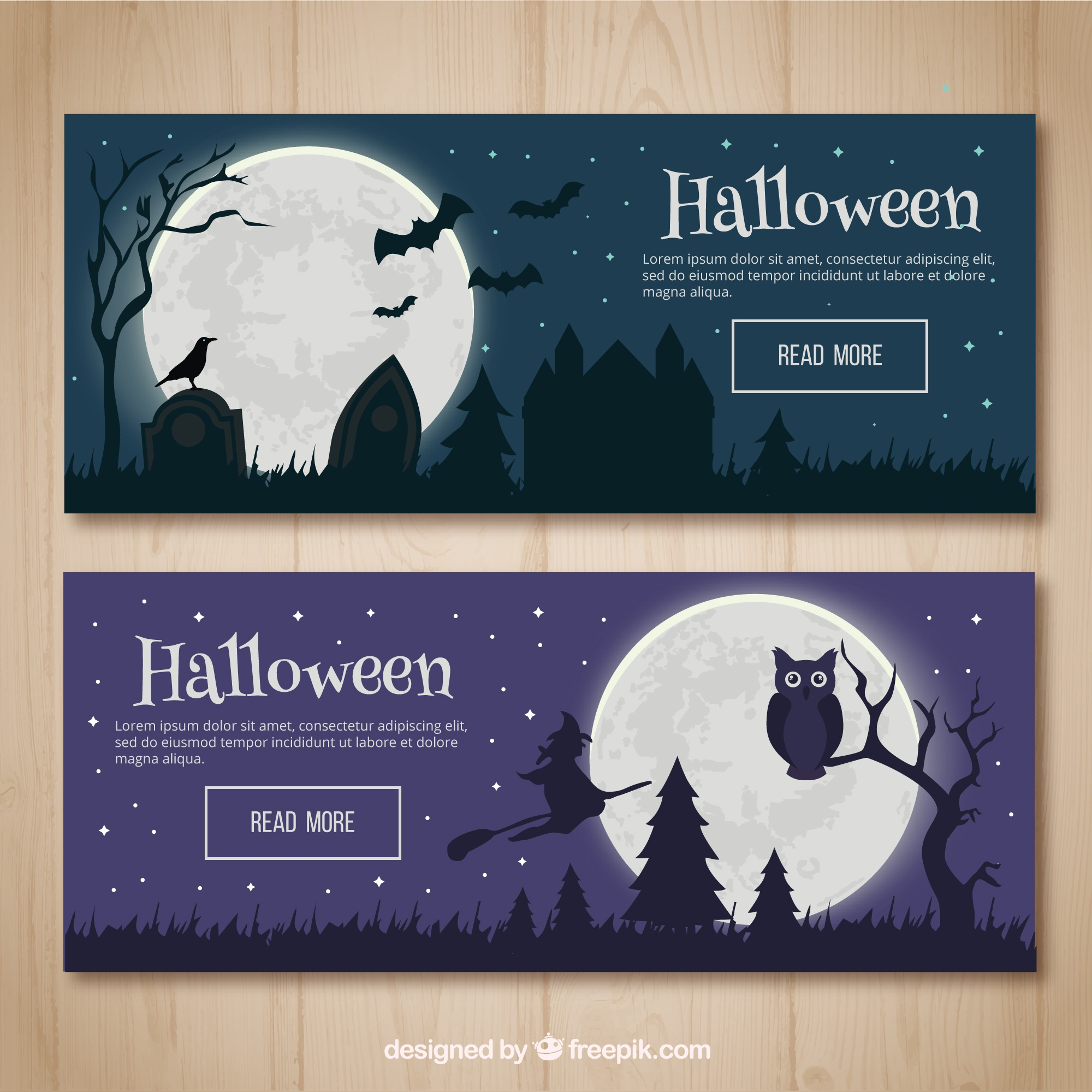 Banners of halloween night landscapes