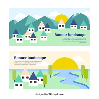 Banners of houses in beautiful landscapes