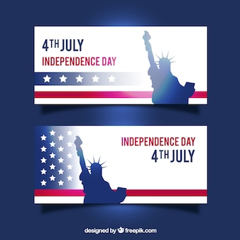 Banners of independence day with statue of liberty