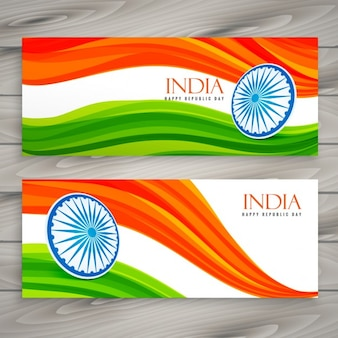 Banners of india with wavy flag