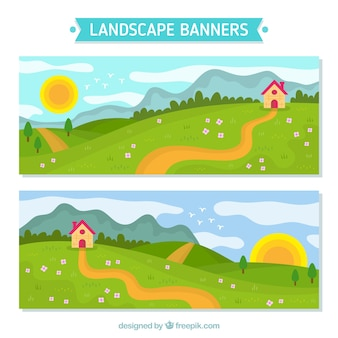 Banners of landscape with cottage in the field
