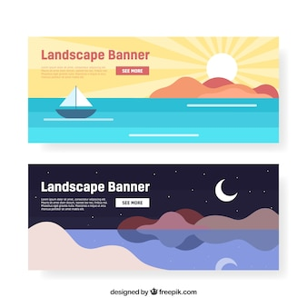 Banners of landscapes with sea in flat design