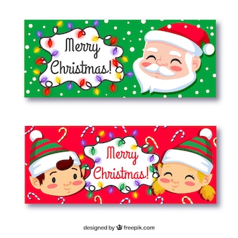 Banners of lovely christmas characters