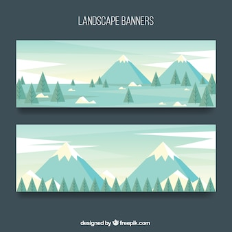 Banners of mountain landscapes with pine trees in flat design