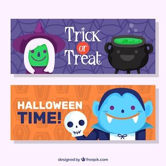 Banners of nice halloween characters