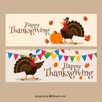 Banners of nice thanksgiving turkey