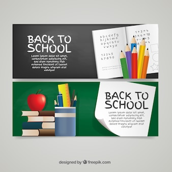Banners of notebook and school supplies
