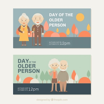 Banners of older perons day in pastel colors