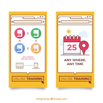 Banners of online training in flat design