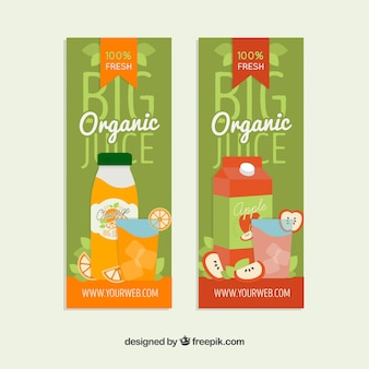 Banners of organic juices