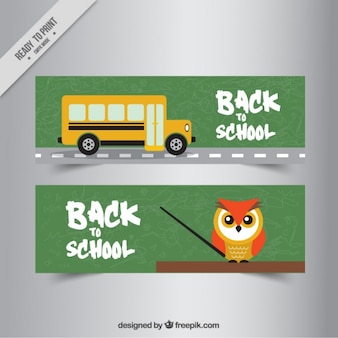 banners of owl and school bus