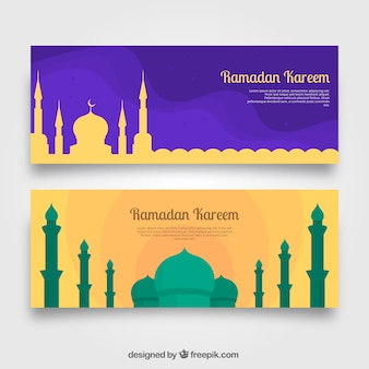 Banners of ramadan with mosque