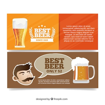 Banners of refreshing beer