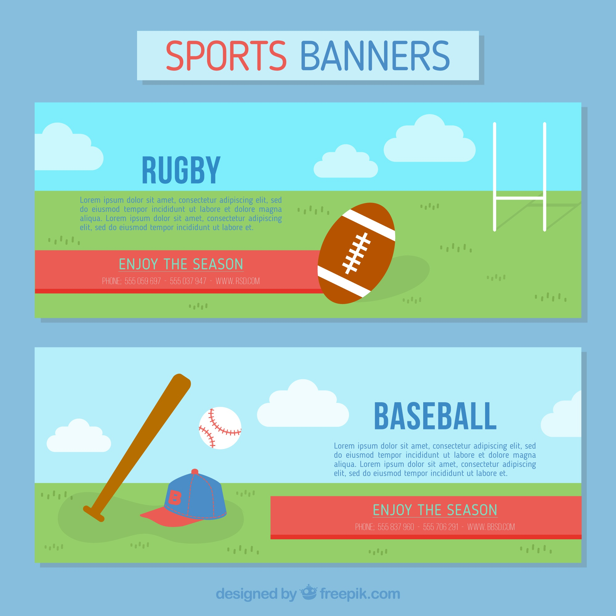 Banners of rugby and baseball