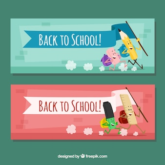 Banners of school friendly elements