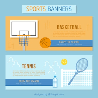 Banners of tennis and basketball