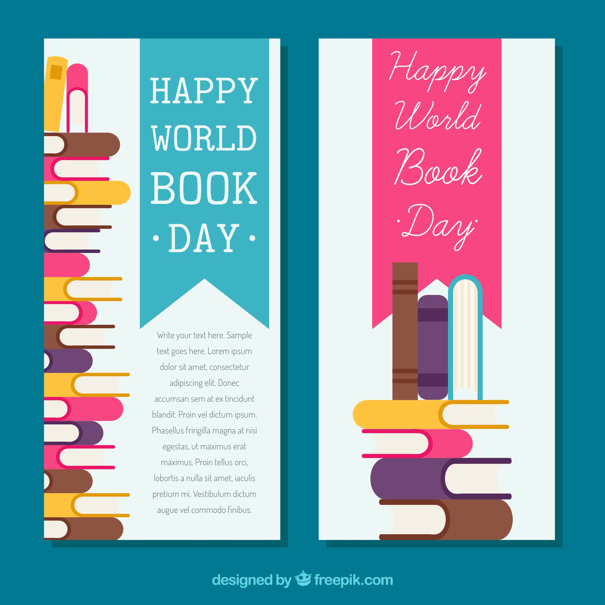 Banners of the world book day in flat design